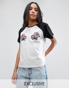Бейсбольная oversize-футболка с рукавами реглан и вышитыми розами Chorus - Белый