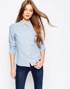 Приталенная рубашка из шамбре с окантовкой ASOS - Синий