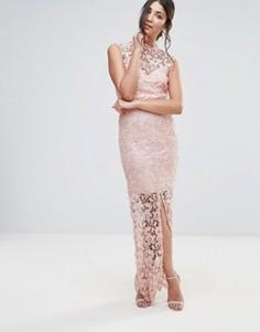 Ажурное платье макси с разрезом спереди Paper Dolls - Розовый
