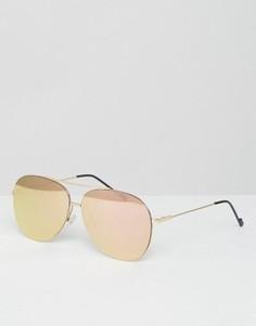Солнцезащитные очки‑авиаторы без оправы с зеркальными стеклами цвета розового золота Jeepers Peepers - Золотой