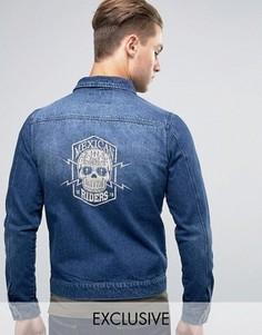 Джинсовая куртка с вышивкой Mexican Liquor & Poker - Синий