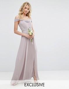 Платье макси с открытыми плечами и отделкой TFNC WEDDING - Серый