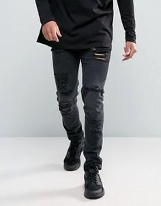 Черные выбеленные джинсы скинни с рваной отделкой из денима плотностью 12,5 унц ASOS - Черный