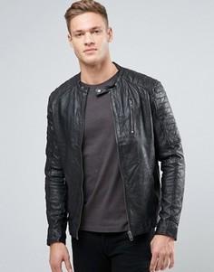 Кожаная байкерская куртка в винтажном стиле Jack & Jones - Черный