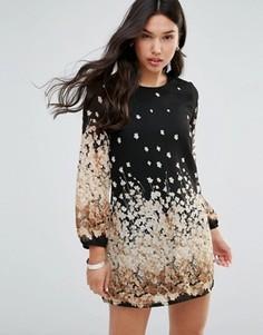 Цельнокройное платье с длинными рукавами и цветочным принтом Yumi - Черный