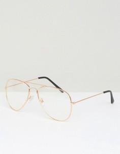Очки-авиаторы в золотистой оправе с прозрачными стеклами Jeepers Peepers - Золотой