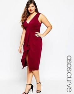 Платье миди с драпировкой спереди ASOS CURVE - Черный