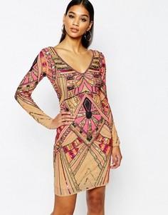 Платье миди с открытой спиной и декоративной отделкой WOW Couture Premium - Мульти