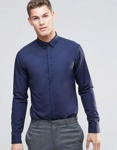 Строгая темно-синяя рубашка узкого кроя HUGO by Hugo Boss - Темно-синий