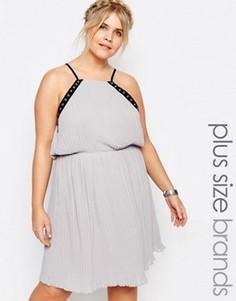 Шифоновое платье на бретельках с отделкой люверсами Truly You - Серый