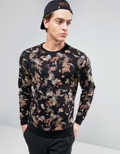 ASOS Sweatshirt In Floral Print - Черный