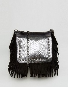 Urbancode Real Leather Fringed Cross Body Bag with Silver Emobossed Croc - Черный