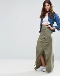 Саржевая юбка макси ASOS - Зеленый