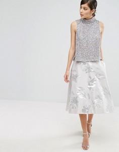 Жаккардовая юбка с принтом металлик и асимметричным краем Coast Aviero - Серебряный