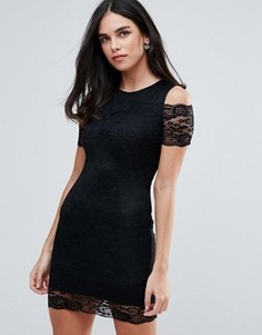AX Paris Cold Shoulder Lace Bodycon Dress - Черный
