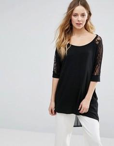 Jasmine Oversized Top With Lace Sleeves - Черный