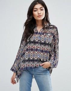 Свободная pубашка с принтом Jasmine - Синий