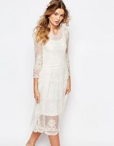 Кружевное платье миди Navy London - Кремовый