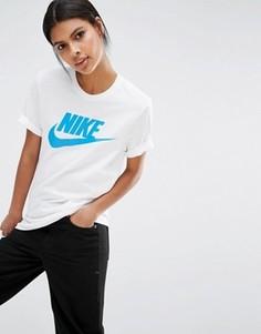 Футболка бойфренда с логотипом Nike - Белый