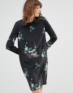 Платье мини с цветочным принтом Samsoe & Samsoe Poland - Черный