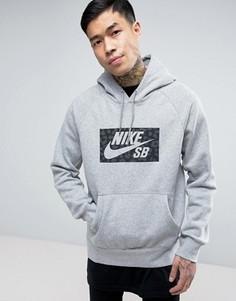 Худи серого цвета с логотипом Nike SB Icon 837932-063 - Серый