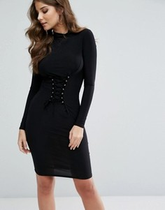 Club L Midi Dress with Corset Lace Up Detail - Черный
