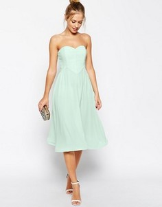 Короткое приталенное платье бандо с волнистой кромкой ASOS - Зеленый