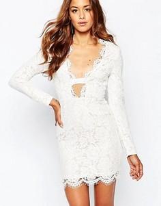 Облегающее кружевное платье с фигурной отделкой Missguided - Белый