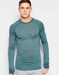 Обтягивающая футболка с добавлением шерсти ASOS - Зеленый