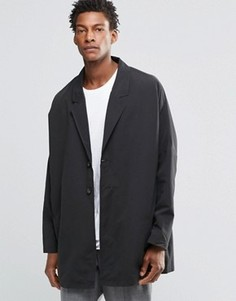 Черное легкое пальто с заниженной линией плеч ASOS - Черный