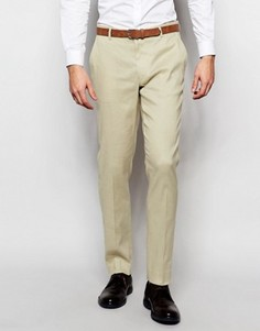 Бежевые зауженные брюки из смешанного льна ASOS - Stone