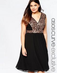 Платье миди с зеркальной отделкой ASOS CURVE - Черный