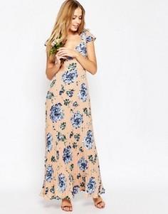 Платье макси с кружевной спинкой и принтом ASOS WEDDING - Мульти