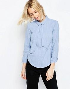 Рубашка с завязкой из шамбре ASOS - Синий