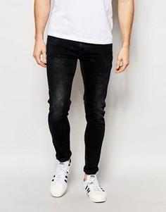 Сине-черные джинсы скинни с эффектом кислотной стирки Pepe Jeans Torr - Черный