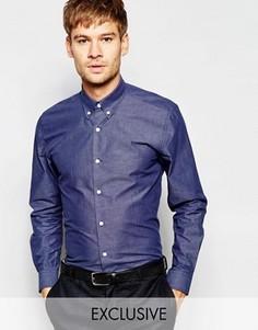 Рубашка скинни из шамбе с воротник на пуговицах Number Eight Savile Row - Синий