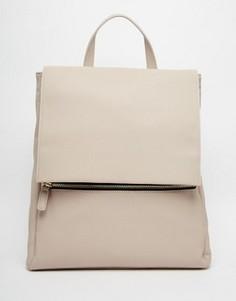 Квадратный рюкзак на молнии спереди ASOS - Серый