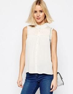 Красивая блузка со сборками без рукавов ASOS - Кремовый