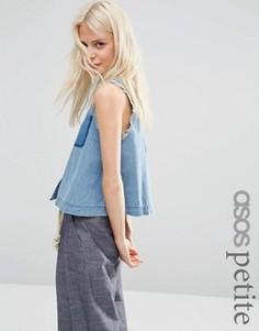 Джинсовая рубашка без рукавов с необработанными краями ASOS PETITE - Синий