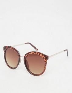 Большие круглые солнцезащитные очки в стиле преппи с металлической отделкой ASOS - Коричневый