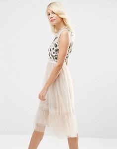 Декорированное платье миди из тюля Needle & Thread Woodland - Розовый