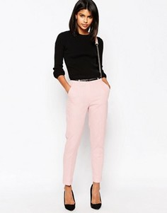 Льняные брюки-сигареты с ремнем ASOS - Розовый
