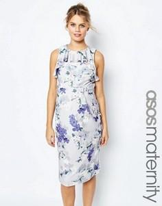 Платье-футляр для беременных с цветочным принтом и оборкой ASOS Maternity - Мульти