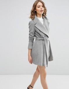 Короткое приталенное пальто с оversize-воротником и поясом ASOS - Серый