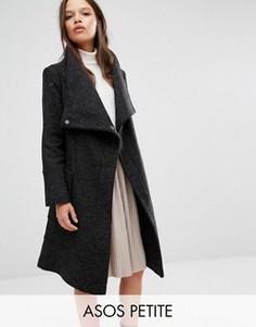 Полушерстяное пальто с воротником‑труба ASOS PETITE - Черный