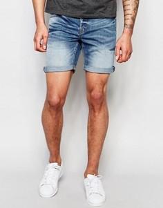 Умеренно выбеленные джинсовые шорты Only & Sons - Синий