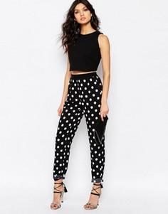 Мягкие приталенные брюки в горошек Y.A.S - Черный