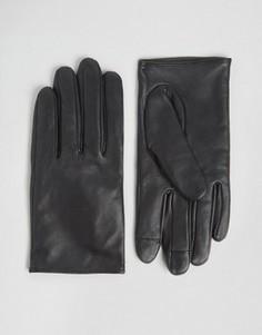Кожаные перчатки для сенсорных экранов ASOS - Черный