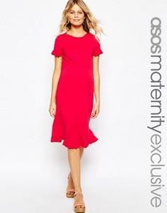 Приталенное платье для беременных с оборками на рукавах ASOS Maternity - Красный