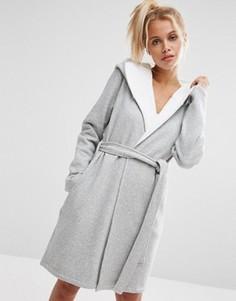 Трикотажный халат с флисовой подкладкой ASOS - Серый